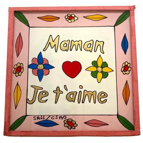 Peinture sous verre 10x10cm - Maman...
