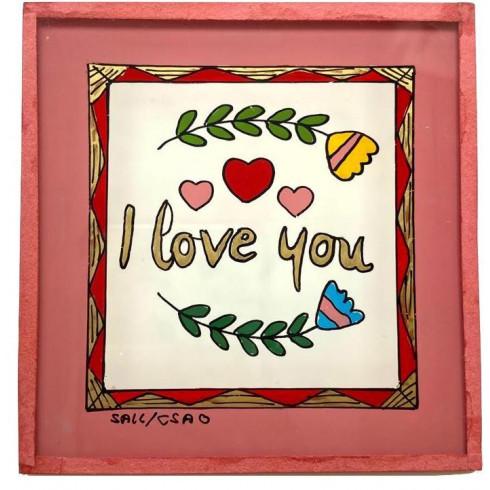 Peinture sous verre 10x10cm - I love you