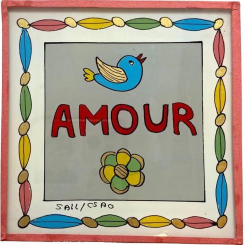Peinture sous verre 10x10cm - Amour