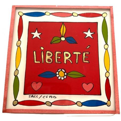 Painting under glass 10x10 - liberté