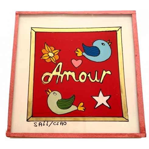 Painting under glass 10x10 cm - Amour