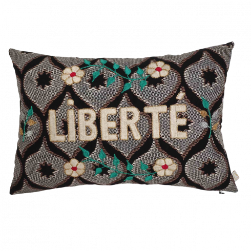Embroidered wax cushion LIBERTE