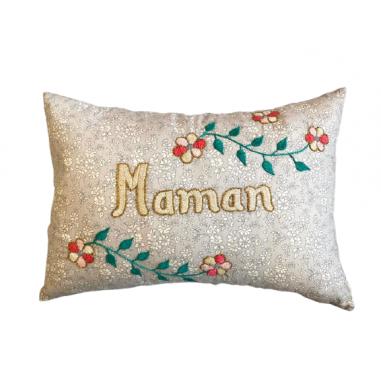 Embroidered cushion MAMAN
