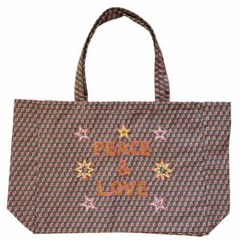 Kossiwa bag embroidered PEACE AND LOVE