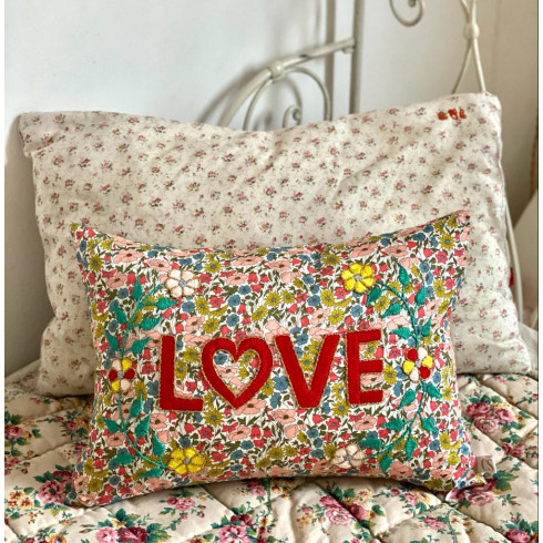 Embroidered cushion LOVE