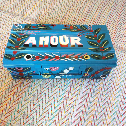 iron trunk, painted with drawings,...